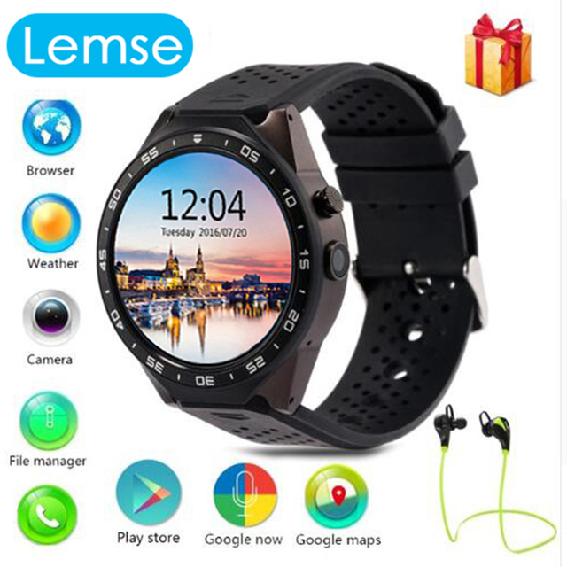 KW88 Smart watch Android 5.1 OS Quad Core 400*400 Smartwatch MTK6580 Поддержка 3 Г Wi-Fi Nano Sim-карты GPS Сердечного ритма наручные часы