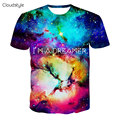2016 New arrivals brand clothing 3d print t shirt men fashion hip hop galaxy t shirt I AM DREAMER graphics tees harajuku tshirt