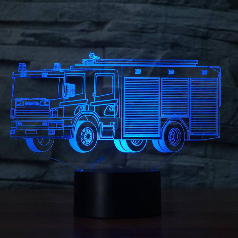 Led Night Lights Collection Here 3d Fire Engine Modelling Table Lamp 7 Colors Changing Fire Truck Car Night Light Usb Sleep Light Led Lamps