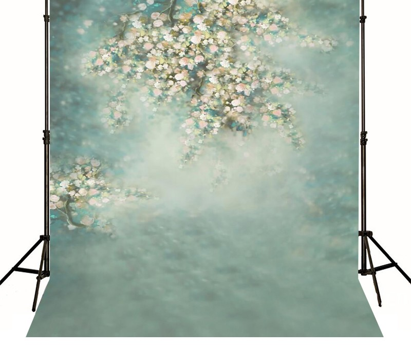 Hazy Pale Green Floral FLower Backgrounds Vinyl cloth Computer printed newborns baby show backdrop