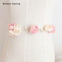 Romantic Sparkly Crystal Bridal Belts Pink Flowers Wedding Sashes 2018 Waistbands ceinture femme strass Wedding Accessories