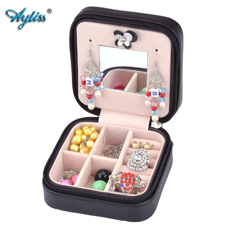 Ayliss Mini PU Leather Storage For Travel Case Creative Jewelry Organizer Carrying Box Pair Eiffel Tower 2 Colors Gift For Girl