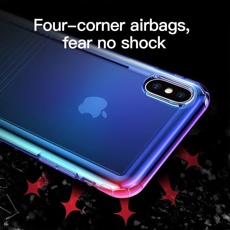 IPhone Xs Max XR üçün əsas Base Gradient Yumşaq silikon - Cib telefonu aksesuarları və hissələri - Fotoqrafiya 2