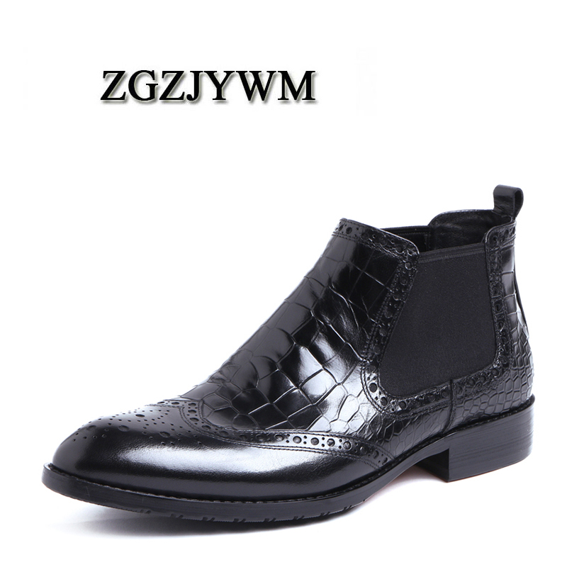 New High Quality Breathable Genuine Leather Snakeskin Style Elastic Band Pointed Toe Flat Oxford Dress Wedding Boots For MenNew High Quality Breathable Genuine Leather Snakeskin Style Elastic Band Pointed Toe Flat Oxford Dress Wedding Boots For Men