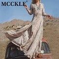 MCCKLE 2017 Лето Женщины Винтаж Этническая Чешского Долго Dress Brand Sexy V-образным Вырезом Цветочный Печати Повседневная Пляж Boho Макси Платья