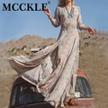 MCCKLE 2017 Summer Women Vintage Ethnic Bohemian Long Dress Brand Sexy V-Neck Floral Print Casual Beach Boho Maxi Dresses