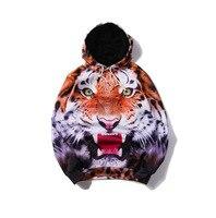 2018 3D Printed Wild Tigher Hoodie Punk Women Men Sweatshirt Hoodies With Hat Loose Hoodie For