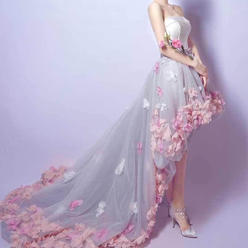 Édition commémorative mariage dentelle fleur mot épaule mariée blanche courte après longue petite robe de traînée AL1844