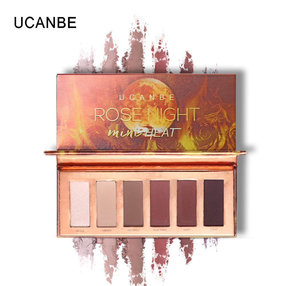 UCANBE Brand 6 Color Matte Shimmer Brown Eyeshadow Palette Nude Makeup Pigment Smoky Eye Shadow Powder Waterproof Cosmetics