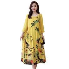 d545433f86ac 4xl 3xl 2019 New Vestido Mulheres Primavera Verão Vintage Feminino de Seda  Grande Tamanho Solta Cópia Da Flor Verde Vestidos Lon.