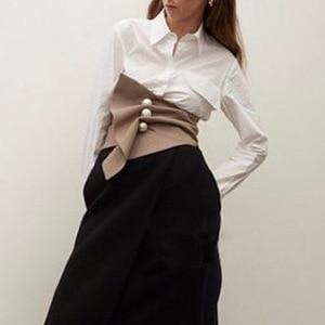 Image 3 - אופנה סדיר משובץ שלושה ממדי פרל אבזם חגורת בציר גבוה מותן Slim נשים אבנט