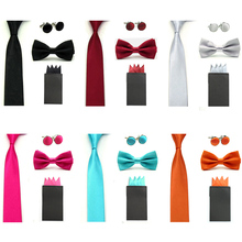 Men Solid Bowtie Skinny Necktie 4 Fancy Folds Pocket Square Hanky Cufflinks Set  BWSET0039