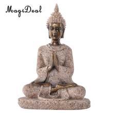 MagiDeal piaskowiec Hue piaskowiec medytacja posąg buddy rzeźba ręcznie rzeźbiona figurka-akcesoria do dekoracji wnętrz prezent