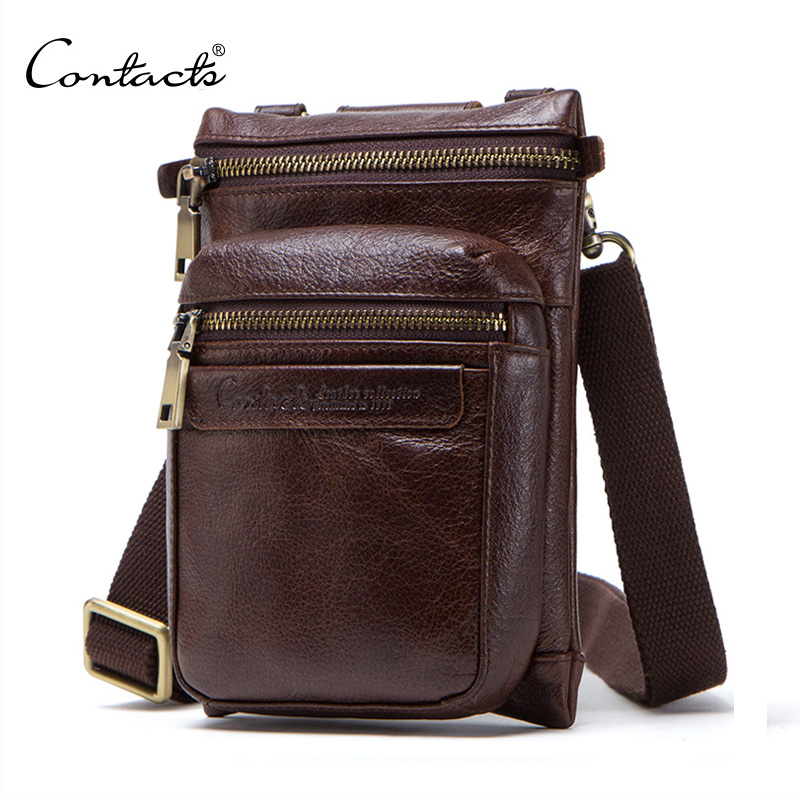CONTACT'S 2019 genuine leather men messenger bag small crossbody bags for cell phone man waist pack casual male shoulder bags