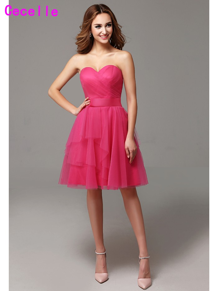 Fuchsia A-line Sweetheart tulle Country Short   Bridesmaid     Dresses   Pleats Maids Honor   Dresses     Bridesmaid   Robes Rustic Informal