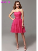 Fuchsia A line Sweetheart tulle Country Short Bridesmaid Dresses Pleats Maids Honor Dresses Bridesmaid Robes Rustic Informal