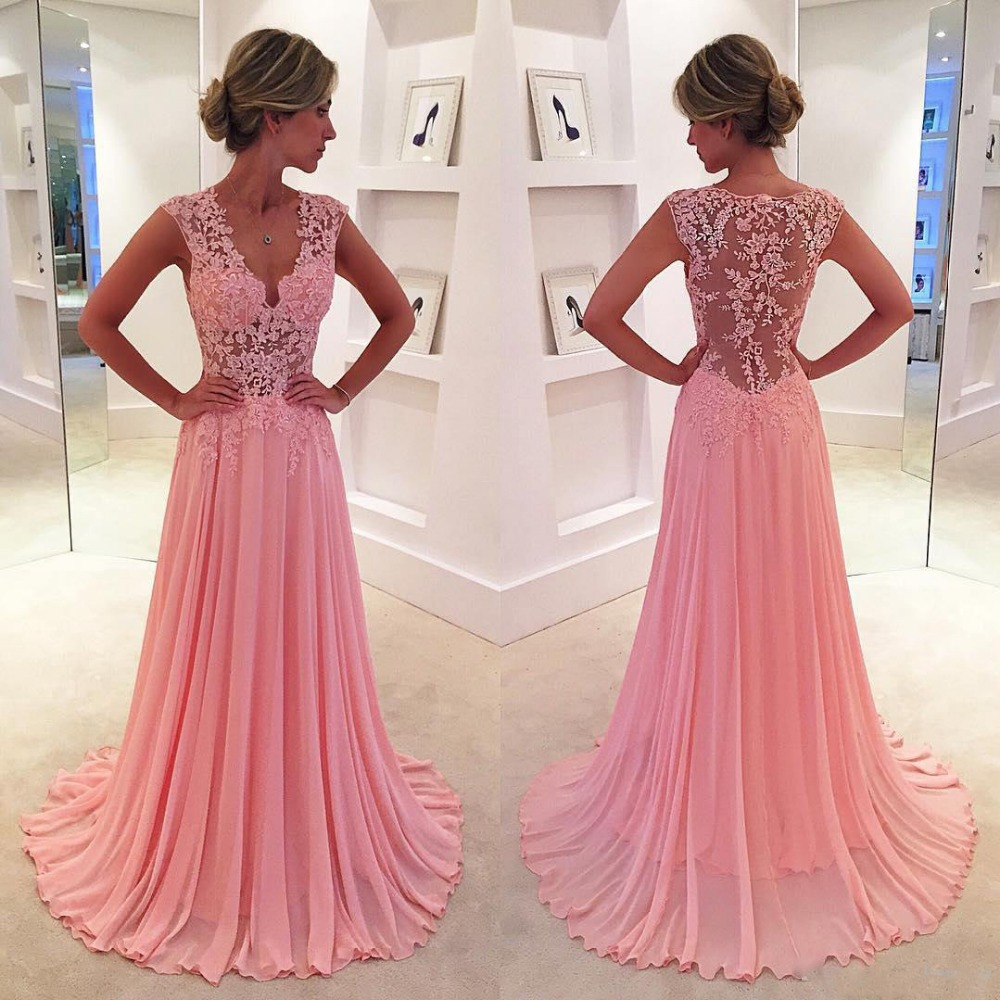 Aliexpress buy robe de soiree pink lace bridesmaid dresses aliexpress buy robe de soiree pink lace bridesmaid dresses long sheer back elegant cheap wedding party gowns applique maid of honor dress from ombrellifo Images