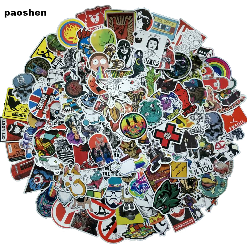100Pcs Random NO Repeat Mixture Stickers Doodling Travel DIY Stickers On The Car Motorcycle Luggage Laptop Bike Scooter