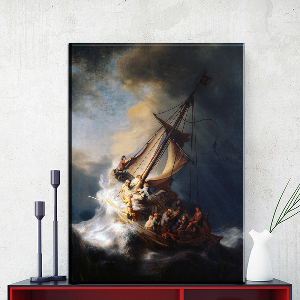 ZZ957 rembrandt Ship canvas oil painting wall arts