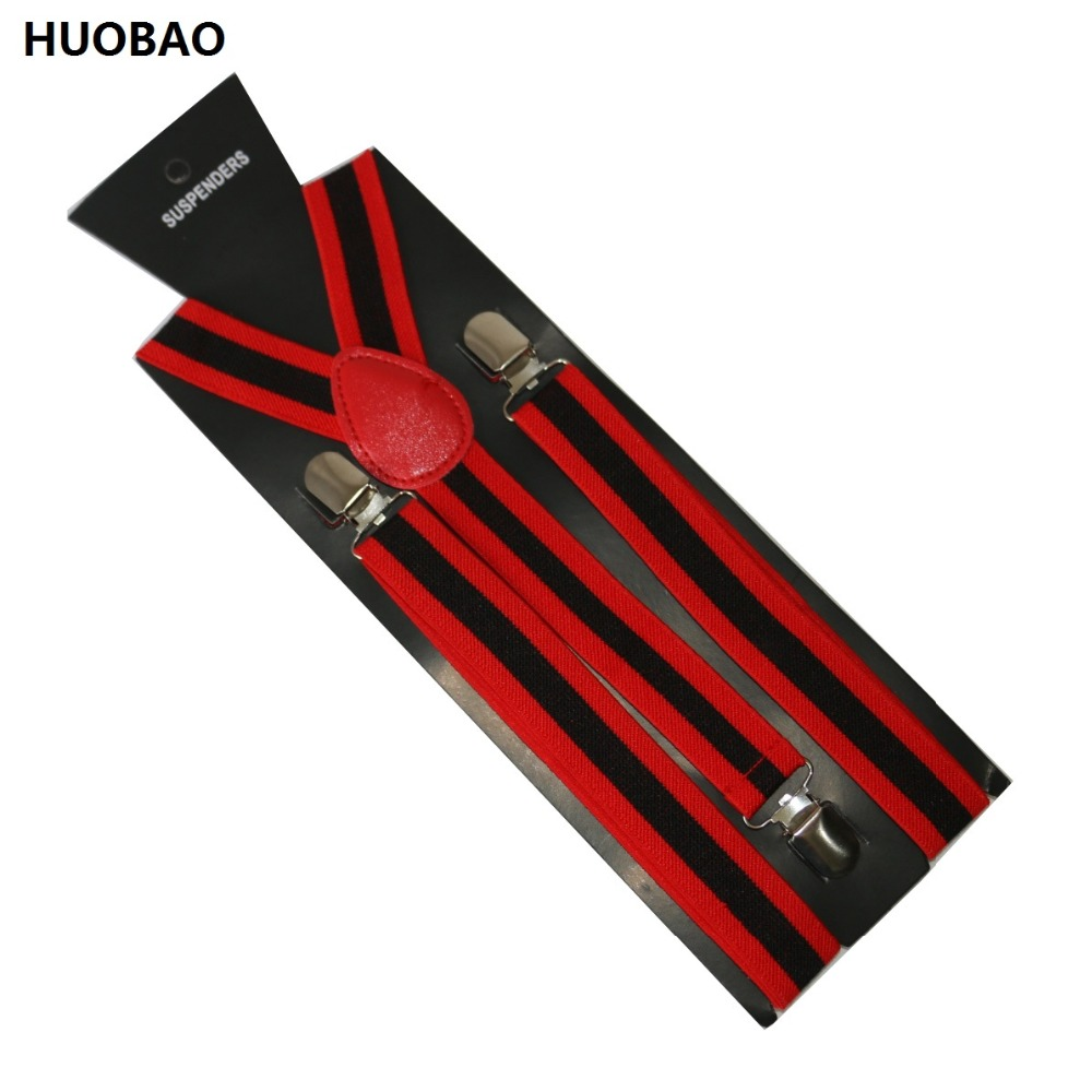 Free Shipping 2019 Women/Mens 2.5cm Wide Clip-on  Red And Black Stripes Braces Elastic Y-back Suspenders