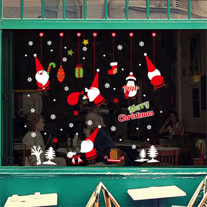 Christmas Wall Stickers Window Glass Festival Decals Santa Murals New Year Christmas Decorations for Home Decor Drop Ship 8O09