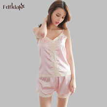 eb905757eec5 Satén Pantalones cortos Pijama conjunto correa de espagueti pijamas mujeres  verano dos piezas pijama de seda