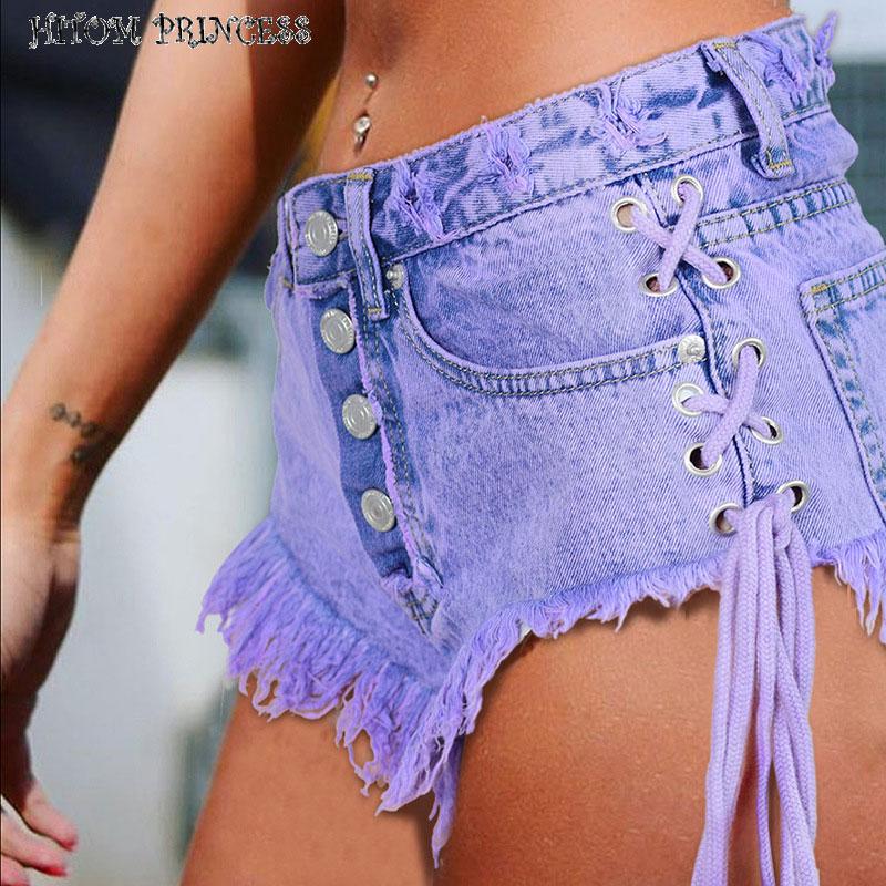 HITOM PRINCESS 2018 Hot Women's Jeans Shorts High Waist Denim Shorts Women Lace Up Button Casual Short Jeans Femme Plus Size