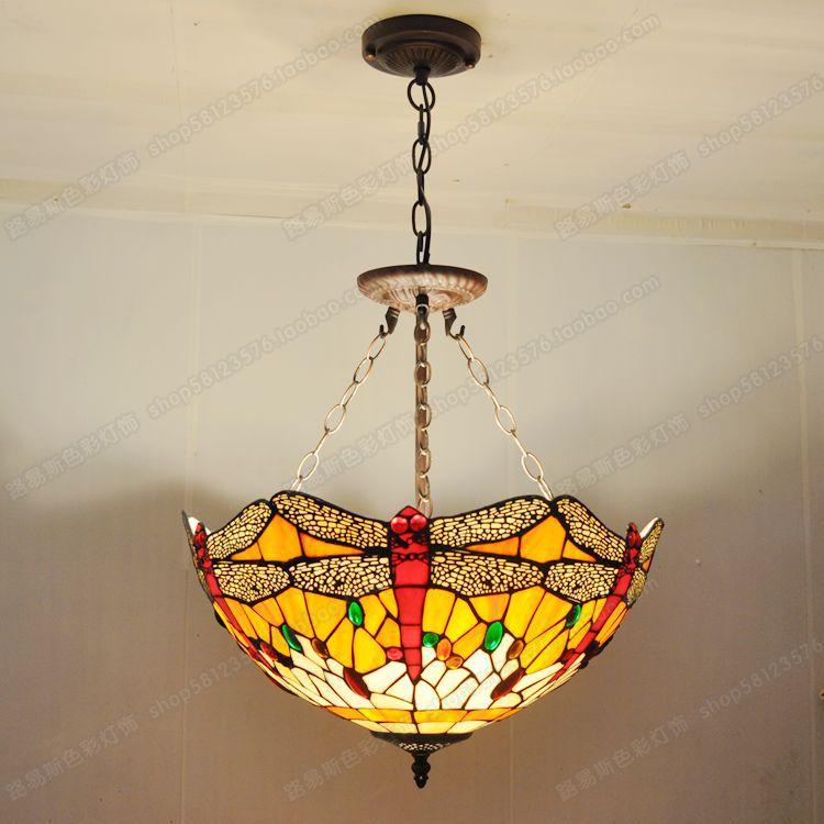 18 pouces de style européen rouge libellule anti lustre bar tiffany chambre verre lampes anglais café hall éclairage de nuit dans lampes suspendues de