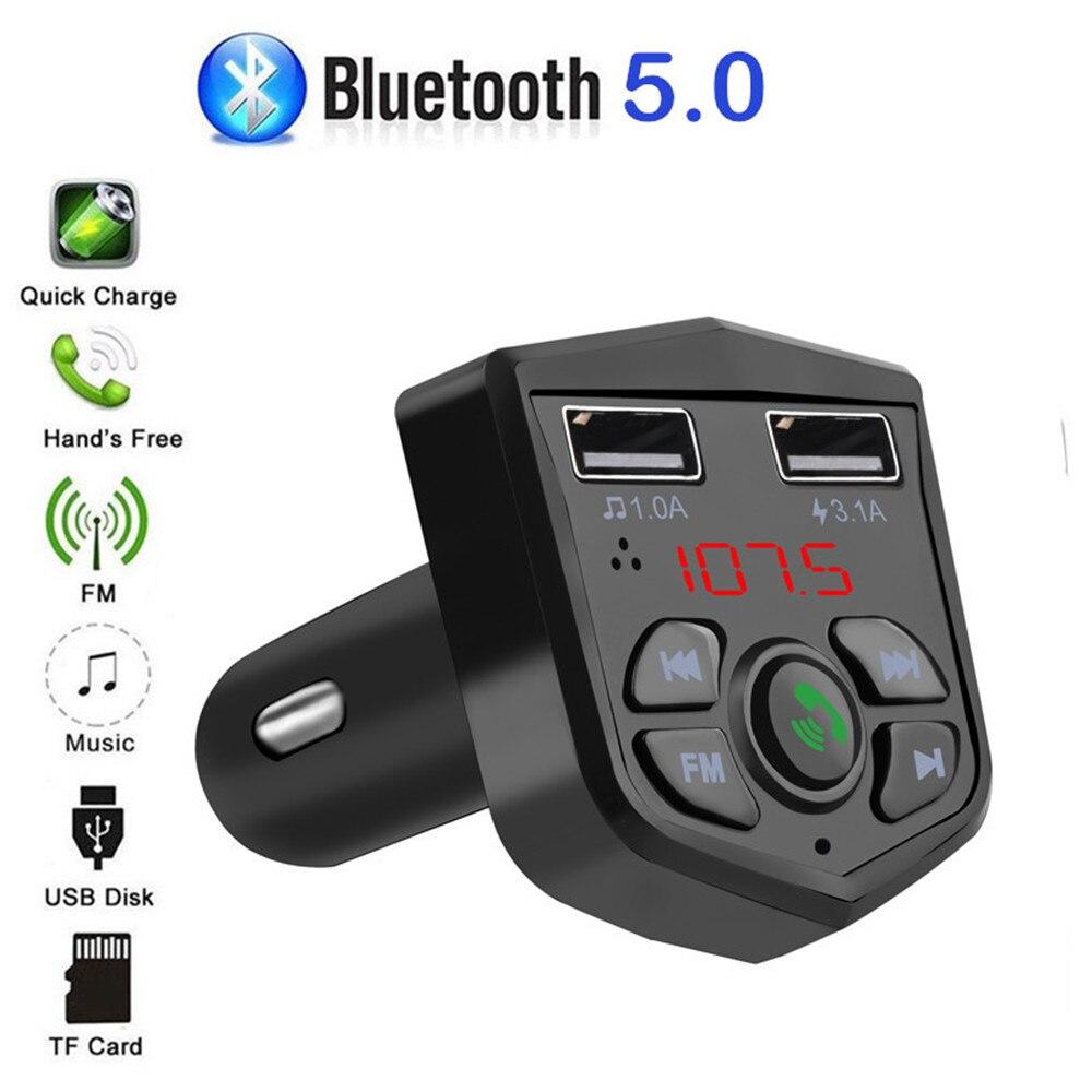 Автомобильный комплект KEBIDU, Bluetooth 5,0, FM-передатчик, звонки по громкой связи, ЖК-дисплей, беспроводной MP3-плеер, зарядное устройство USB А, автомо...