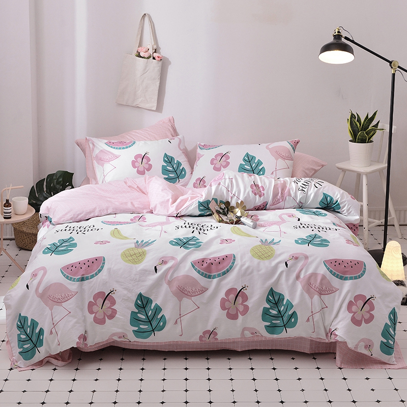 Summer Flamingo Duvet Cover Set 100% Cotton Watermelon Bedding Sets For Adults Twin Queen King Pink Bed Sheet Plants Pillow Case