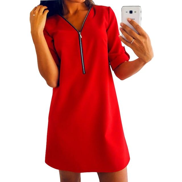 707f0d538d536 Zipper Dress Women Mini Plus Size Dress S-3XL Solid Loose Long Sleeve Tops  Button Chiffon V-Neck Female Sexy Office Dress M0257