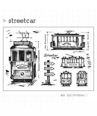 WYF1020 Scrapbook DIY Photo Album Cards Transparent Silicone Rubber Clear Stamp 11x16cm Street Car wyf1017 scrapbook diy photo album cards transparent silicone rubber clear stamp 11x16cm camera