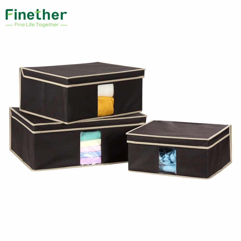 Finether Simple Yet Chic 3 Pcs Foldable Fabric Storage Box Case With Lid  See Through Window Organizer For Underwear Organizador In Storage Boxes U0026  Bins From ...