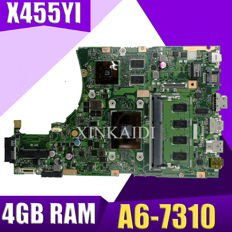 XinKaidi  X455YI MAIN_BD._4G/A6-7310 CPU laptop motherboard For asus X455YI X455Y X455DG X455D mainboard 100% test OkXinKaidi  X455YI MAIN_BD._4G/A6-7310 CPU laptop motherboard For asus X455YI X455Y X455DG X455D mainboard 100% test Ok