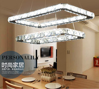 2015 New modern rectangular hanging crystal chandelier for restaurant dining room decorative kitchen crystal chandelier LED