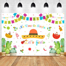 NeoBack Lets Fiesta Backdrop Newborn Baby Birthday Party Banner No Time to Siesta Mexican Photography Background