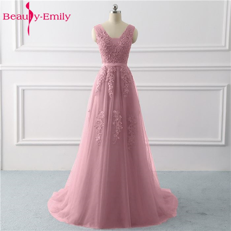 Beauty Emily Lace V neck Long Evening Dresses 2019 Sexy Open Back Prom Gowns Tulle Sleeveless