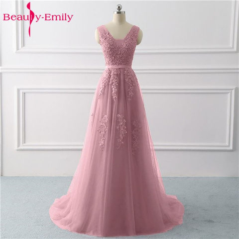 Beauty Emily Lace V-neck Long Evening Dresses 2019 Sexy Open Back Prom Gowns Tulle Sleeveless Pleated Party Dress robe de soiree Karachi