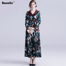 Banulin Autumn Fashion Runway Maxi Dresses Womens Long Sleeve Floral Print Boho Holiday Vacation Casual Party Dress