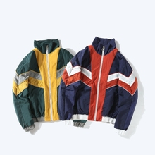 women vintage hip pop jackets spring 80s 90s red white blue Patchwork wave striped Japan bat loose zipper coats  his and hers