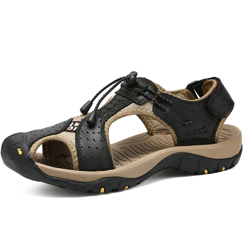 mens casual big size cover toe summer beach sandals genuine leather shoes zapatos hombre sandalet outdoor sneaker sandal shoe