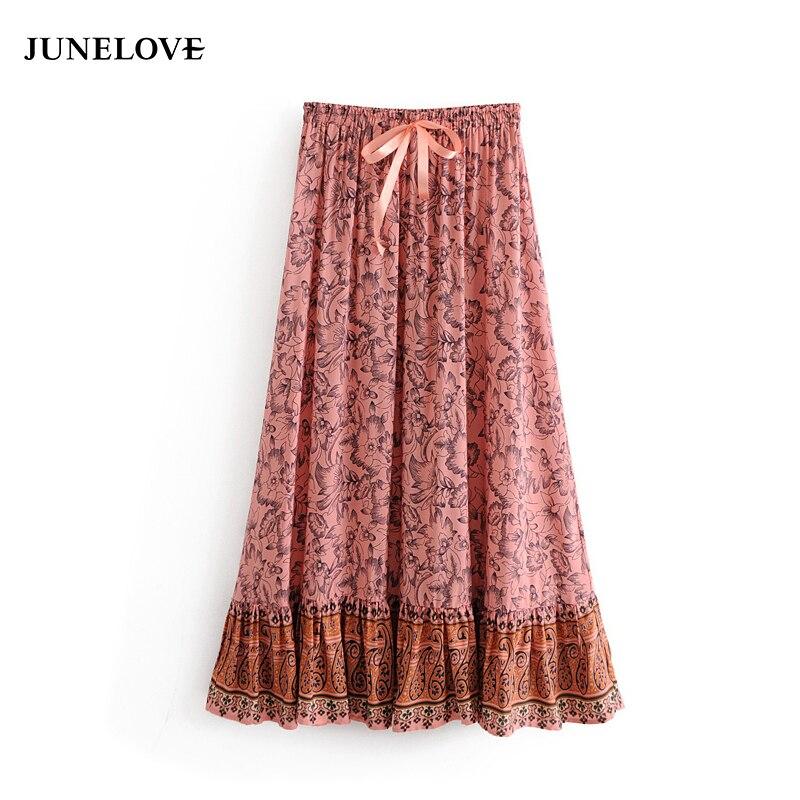 JuneLove summer boho print women skirt casual lace up ankel-length ladies skirt high waist A-line drapped female skirt