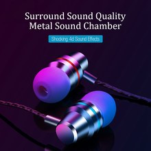 Metal Wired Earbuds 3.5mm In Ear Earphone Earpiece With Mic Stereo Headset For Samsung Xiaomi IPhone Computer(China)