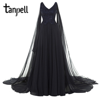 Tanpell V Neck Long Evening Dress Luxury Dark Navy Lace Bead Appliques A Line Court Train