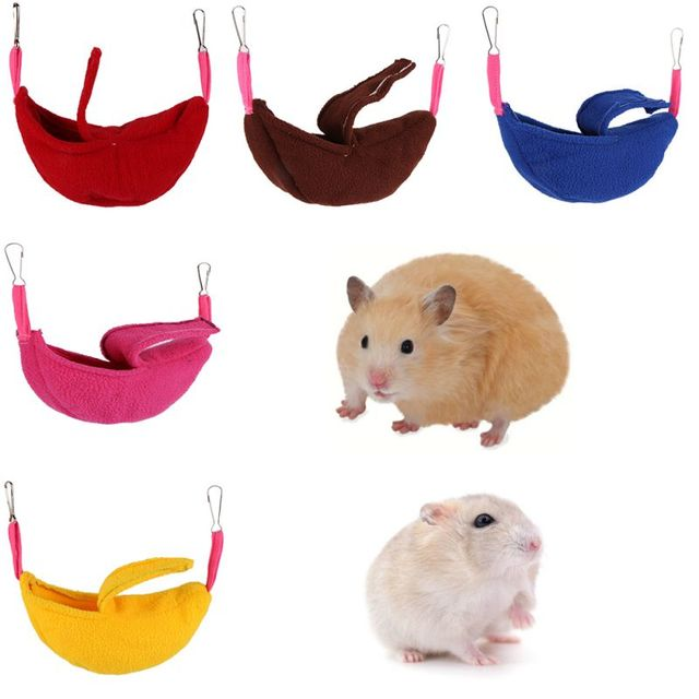 Cute Pet Hamster Hanging House Soft Hammock Banana Shape Small Pet Cotton Cage Sleeping Pet Bed Rat Cage Toy Accessories