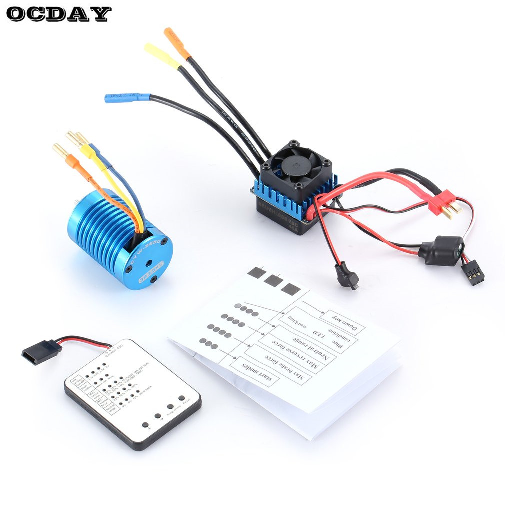 F540 3930KV 4 poles Sensorless Brushless Motor 45A ESC with LED Programming Card Combo Set for 1/10 rc car parts Truck accessory waterproof 60a esc f540 10t 3930kv brushless motor fits for 1 10 drift rc car racing bm88
