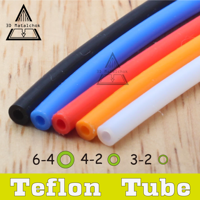 3D printer 1M 2*4mm 4*6mm PFA PTFE Tube Teflon PiPe J-head hotend RepRap Rostock Bowden Extruder for V5/V6 1.75MM/3.0mm Filament 3d printer accessory aluminium alloy for reprap bowden extruder parts for1 75mm filament 0 4mm nozzle