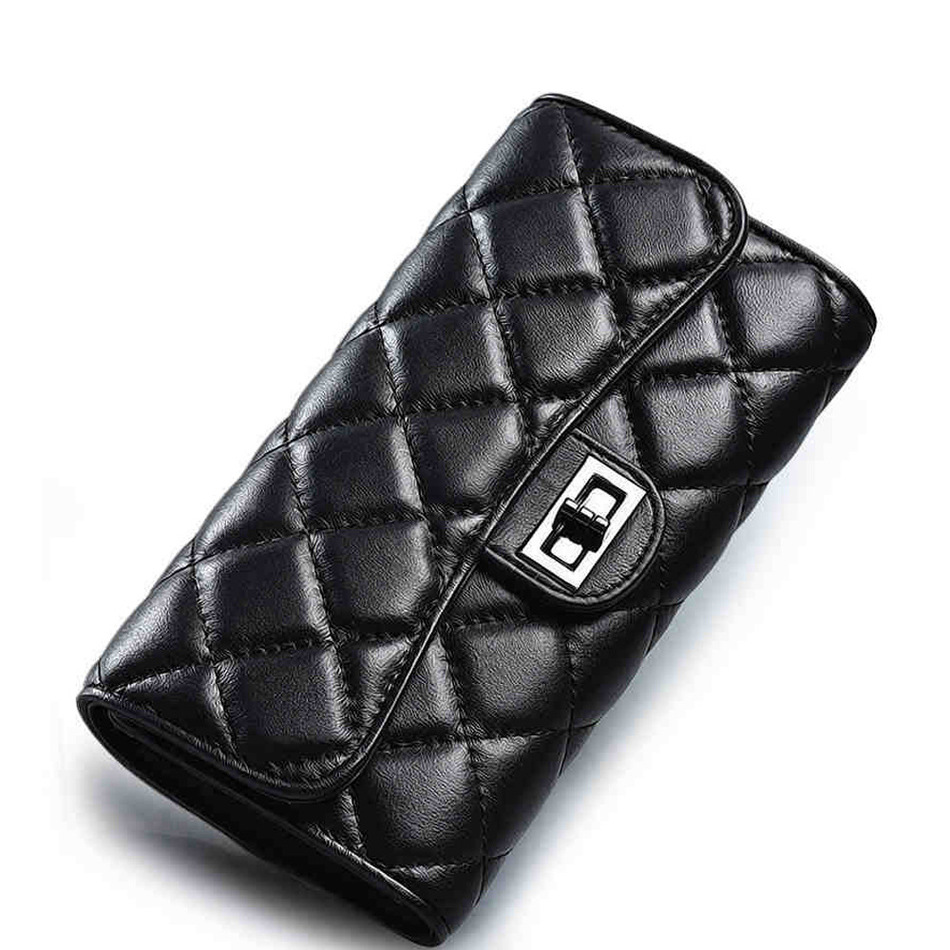 ФОТО MUPO Brand Women Luxury Genuine Leather First Layer Sheepskin Rhombus Pattern Clutch Bag Long Wallet Lady Purse mp-r020015