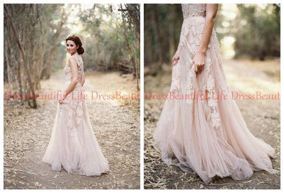 Cheap Wedding Dresses Lace: Cheap Appliques Vintage V Neck Lace Wedding Dress Rustic