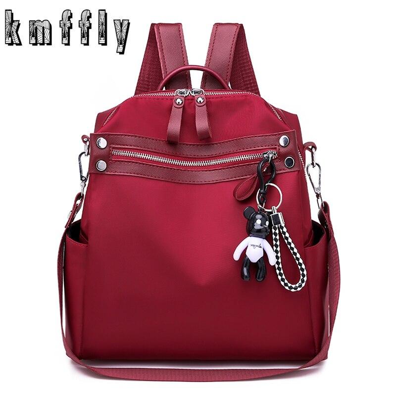 Small Bagpack Schoolbag Teenager Fashion Solid Women Oxford Girls Multifunction Sac Dos